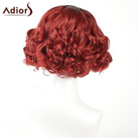 Cheap Adiors Short Curly Side Part Shaggy Layered Ombre Synthetic Wig - BLACK AND RED  Mobile