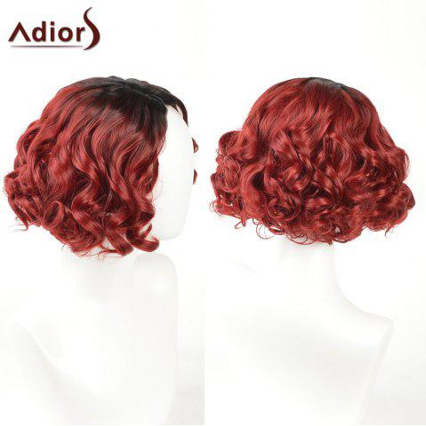 Affordable Adiors Short Curly Side Part Shaggy Layered Ombre Synthetic Wig - BLACK AND RED  Mobile
