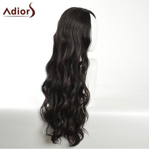 Sale Adiors Long Layered Wavy Center Part Synthetic Wig - BLACK  Mobile