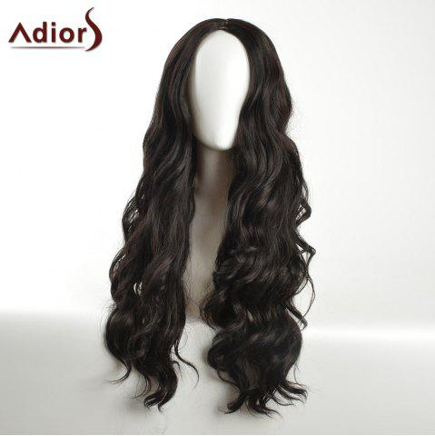 Fashion Adiors Long Layered Wavy Center Part Synthetic Wig - BLACK  Mobile