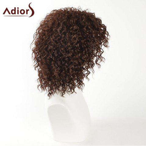 Sale Adiors Inclined Bang Medium Shaggy Afro Curly Synthetic Wig - BROWN  Mobile