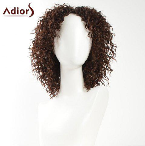 Fashion Adiors Inclined Bang Medium Shaggy Afro Curly Synthetic Wig - BROWN  Mobile