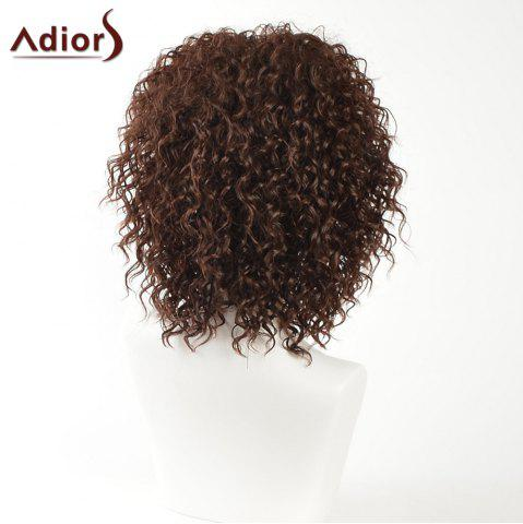 Chic Adiors Inclined Bang Medium Shaggy Afro Curly Synthetic Wig - BROWN  Mobile