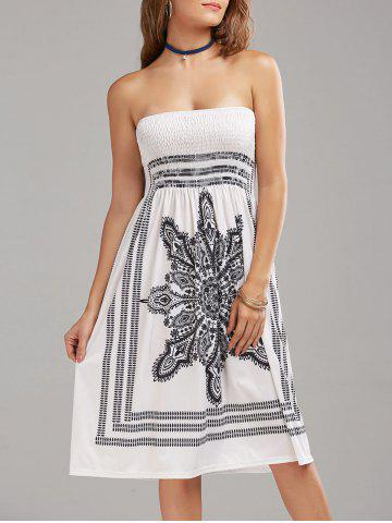 Cheap Tribal Print Bohemian Strapless Dress WHITE S
