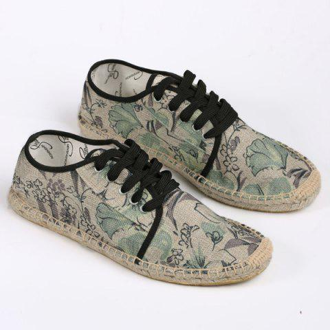 Chic Espadrilles Floral Print Flat Shoes - 40 GREEN Mobile