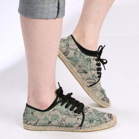 Unique Flower Print Espadrilles Canvas Shoes