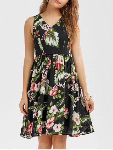 V Neck Sleeveless Floral Printed  Tropical Dress - Black - 2xl