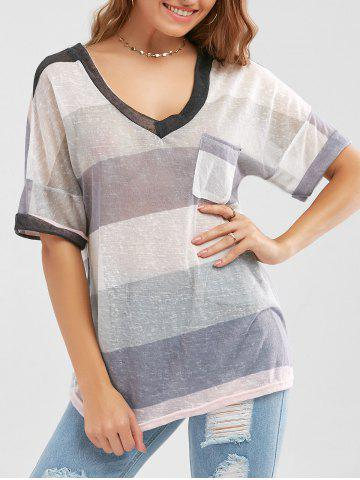 Sheer Pocketed Striped Knit T Shirt - Colormix - Xl