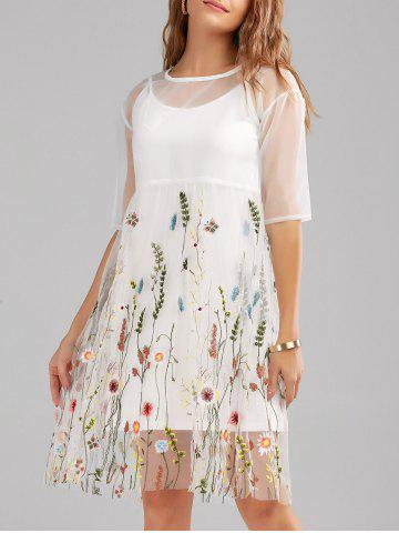 Mesh Embroidery Sheer Dress With Long Cami - White - M