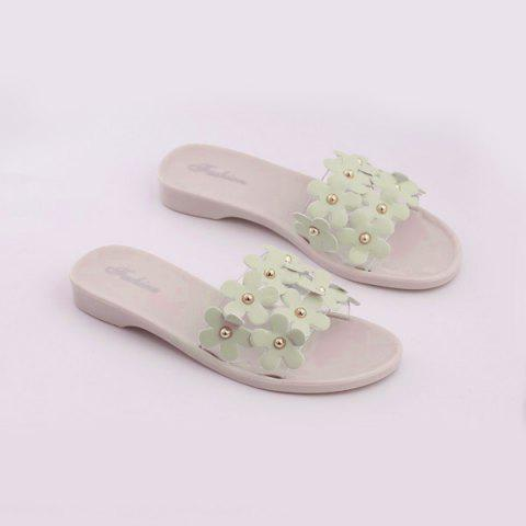 Buy Transparent Plastic Flowers Flat Heel Slippers