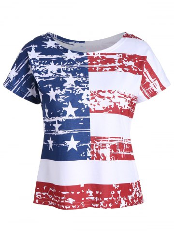 Backless Distressed American Flag T-Shirt - Colormix - 2xl