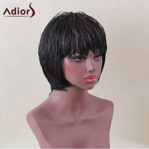 Discount Adiors Short Bob Full Bang Micro Braids Straight Colormix Synthetic Wig - COLORMIX  Mobile