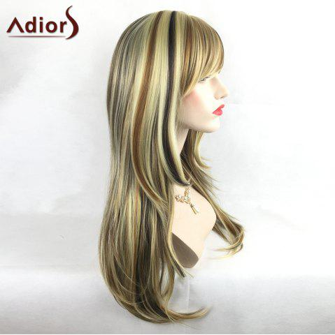 Unique Adiors Colormix Tail Adduction Long Side Bang Silky Straight Highlight Synthetic Wig - COLORMIX  Mobile