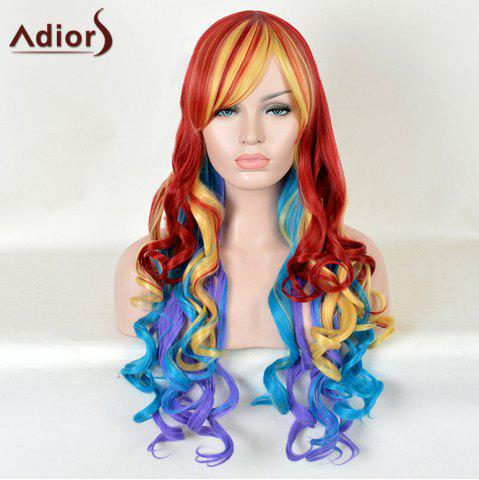 Unique Adiors Long Side Bang Rainbow Cosplay Colormix Curly Synthetic Wig - COLORMIX  Mobile
