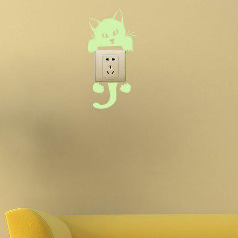 Buy Home Decor Noctilucence Cat Wall Sticker - 10*20CM NEON GREEN Mobile