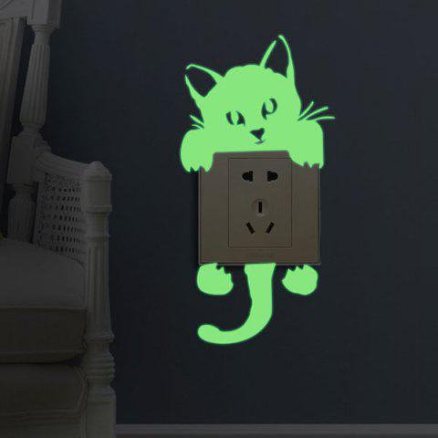Store Home Decor Noctilucence Cat Wall Sticker - 10*20CM NEON GREEN Mobile