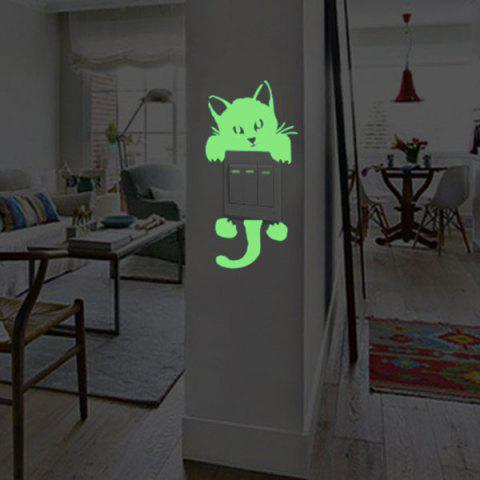 Online Home Decor Noctilucence Cat Wall Sticker - 10*20CM NEON GREEN Mobile