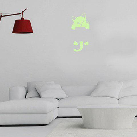 Sale Home Decor Noctilucence Cat Wall Sticker - 10*20CM NEON GREEN Mobile
