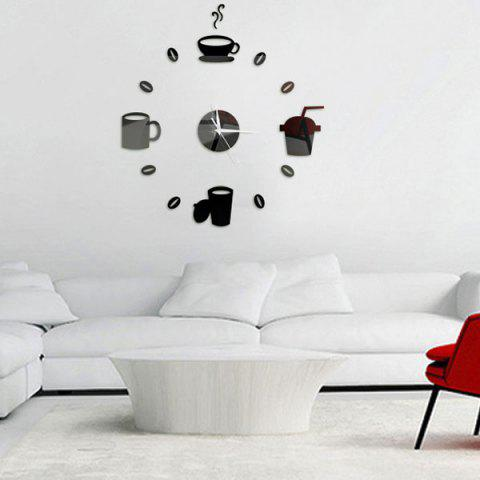 Home Decor Cup Pattern Analog DIY Wall Clock Noir