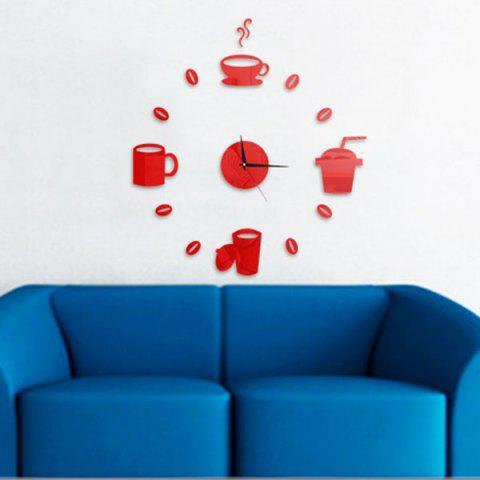 Home Decor Cup Pattern Analog DIY Wall Clock Rouge
