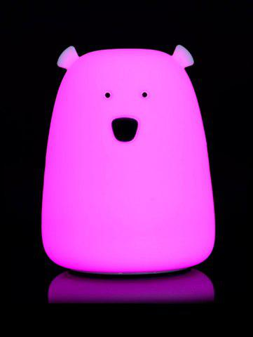 Online Silicon Bear Color Change LED Night Light - WHITE  Mobile