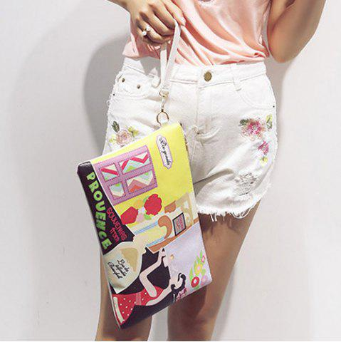 Unique PU Leather Cartoon Printed Clutch Bag - YELLOW  Mobile