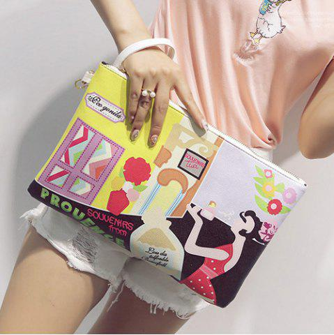 Trendy PU Leather Cartoon Printed Clutch Bag - YELLOW  Mobile