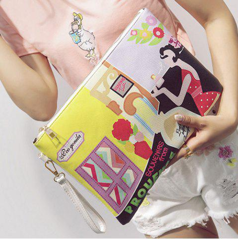 Buy PU Leather Cartoon Printed Clutch Bag - YELLOW  Mobile