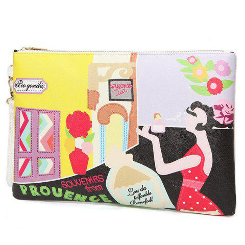 Online PU Leather Cartoon Printed Clutch Bag - YELLOW  Mobile