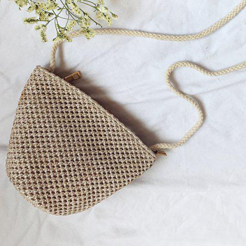 Woven Straw Cross Body Bag - Camel
