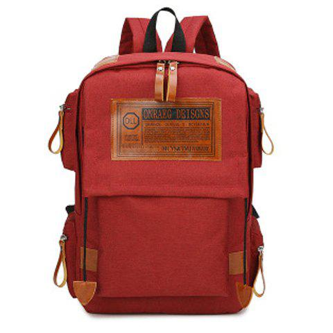 Store Multi Pockets Graphic Patch Backpack WINE RED