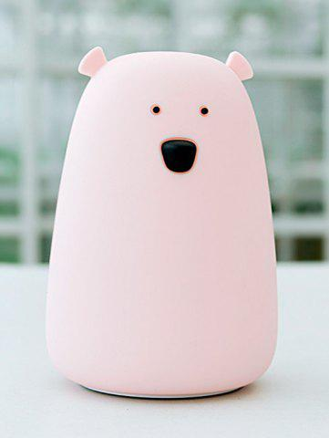 Fashion Rechargeable Bear Silicon Color Change LED Night Light - PINK  Mobile