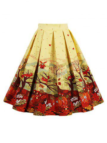 Print High Waisted A Line Skirt - Yellow - Xl
