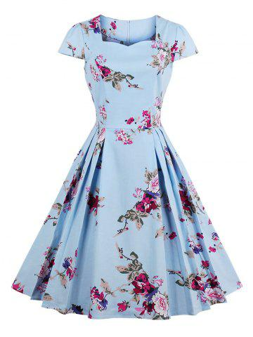 Sale Vintage Floral Print A Line Pleated Dress BLUE M