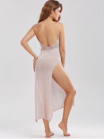 Best Sheer High Slit Knitted Midi Dress - ONE SIZE PINK Mobile