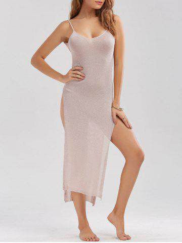 Discount Sheer High Slit Knitted Midi Dress - ONE SIZE PINK Mobile