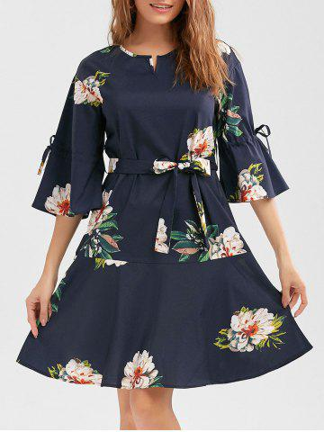 Flare Sleeve Floral Drop Waist Dress Пурпурно-синий S