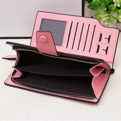 Chic Faux Leather Organizer Clutch Wallet - PINK  Mobile