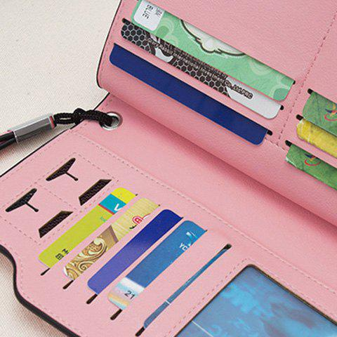 Fancy Faux Leather Organizer Clutch Wallet - PINK  Mobile
