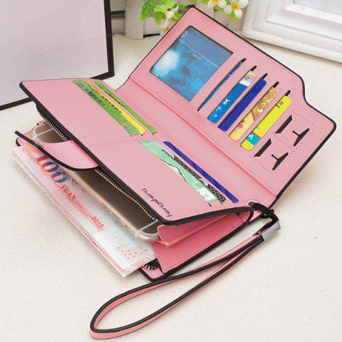 Latest Faux Leather Organizer Clutch Wallet - PINK  Mobile