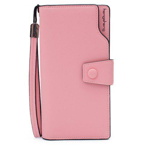New Faux Leather Organizer Clutch Wallet PINK