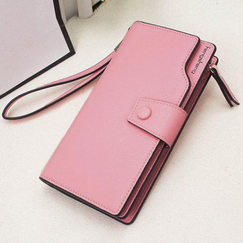 Sale Faux Leather Organizer Clutch Wallet - PINK  Mobile