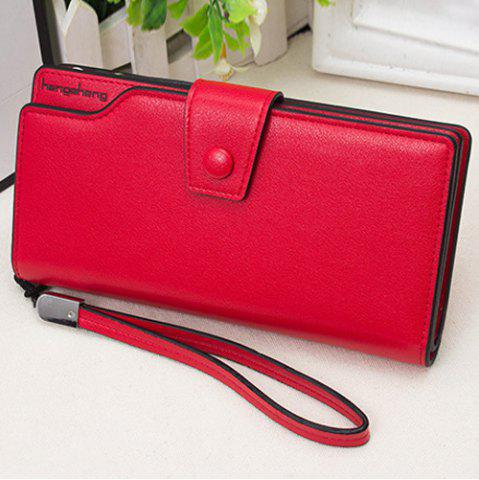 Faux Leather Organizer Clutch Wallet Rouge