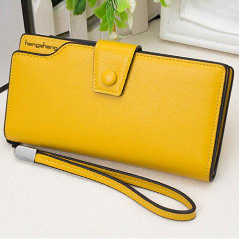 Sale Faux Leather Organizer Clutch Wallet YELLOW