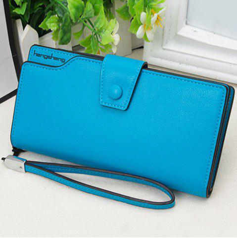Chic Faux Leather Organizer Clutch Wallet BLUE