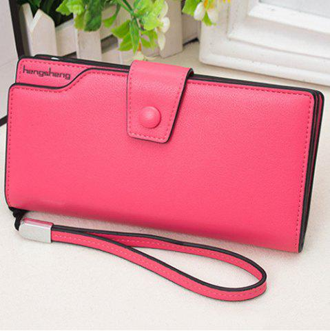 Latest Faux Leather Organizer Clutch Wallet - ROSE RED  Mobile