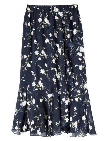 Plus Size Floral Chiffon Maxi Skirt - Purplish Blue - 5xl