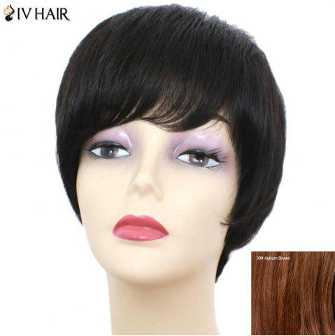 Store Siv Hair Short Inclined Bang Glossy Straight Human Hair Wig - AUBURN BROWN #30  Mobile
