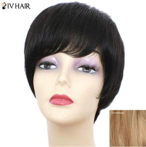 Shop Siv Hair Short Inclined Bang Glossy Straight Human Hair Wig - BLONDE  Mobile