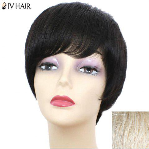 Latest Siv Hair Short Inclined Bang Glossy Straight Human Hair Wig - OFF-WHITE  Mobile